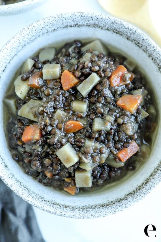 Lentils with Potatoes Recipe Elizabeth Rider-2